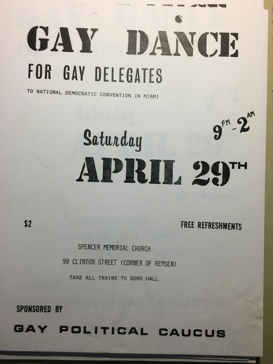 Gay dance flier by the Gay Politivcal Caucus 1972