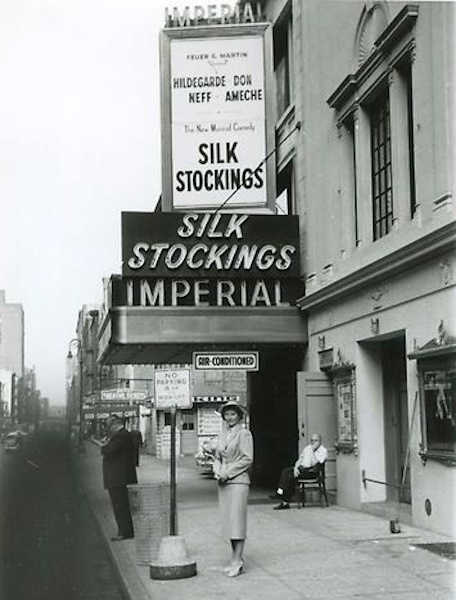 Silk Stockings sign above the Imperial Theater marquee, 1955.