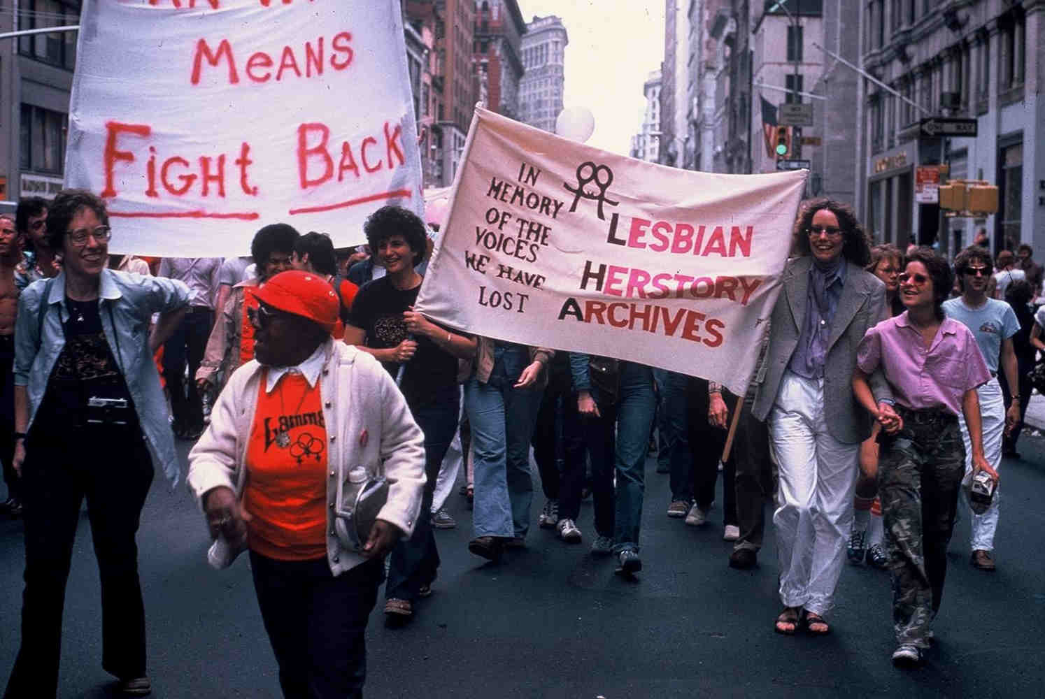 Lesbian_Herstory_Archives_Gay_Pride_1980s - joan nestle blog - edel, nestle and mabel hampton in photo 2