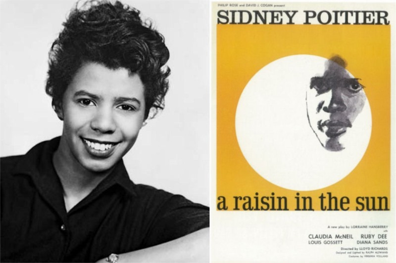 Lorraine Hansberry and a poster for A Raisin in the Sun, 1959. Source This Day in Quotes.com - Copy